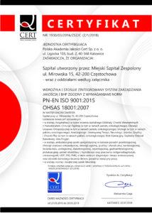 MIEJSKI SZPITAL ZESPOLONY [J2015+OHSAS] - C2016 - zm. z dn. 02.07.2018